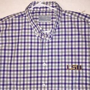Other - LSU Plaid Check Short Sleeve Shirt Sz XL